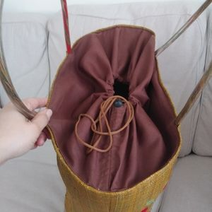 None Bags - Handmade Woven tote with drawstring